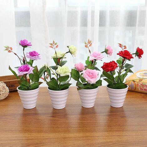 TRIOMPHE Petite rose bonsaï créatif (y compris pot) simulation fleur ornements créatifs simulation plante en pot ensemble de 4 pièces