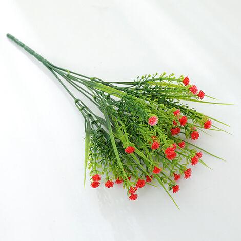 Triomphe plantes vertes artificielles, bouquets de roses, fleurs en plastique artificielles, jardinières extérieures, plantes décoratives, plantes vertes artificielles, fleurs roses (rouge (4 pièces)
