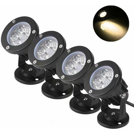 TRIOMPHE Projecteur extérieur LED projecteur circulaire étanche plug-in arbre projecteur ancien bâtiment lumière ondulée (5W lumière chaude * 4