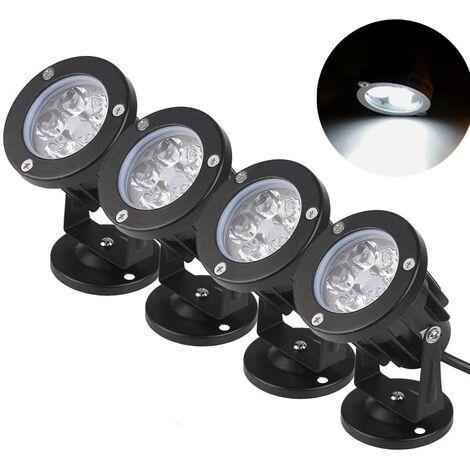 TRIOMPHE Projecteurs extérieurs à LED Projecteurs ronds Projecteur d'arbre enfichable étanche à l'architecture ancienne, lumière ondulée (lumière blanche 5W * 4pcs