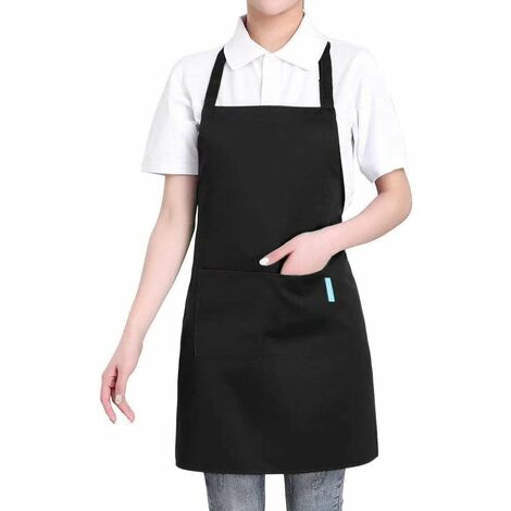 """main image of """"TRIOMPHE Publicité vêtements de travail résistant à l'huile DAY chef hot pot restaurant restaurant taille tablier de jardinage 2 pièces noir"""""""