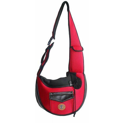 TRIOMPHE Sac de chat sac pour animaux de compagnie sac de transport de sortie voyage Portable Messenger épaule sac respirant sac à dos pour chien sac à dos pour animaux de compagnie, rouge 28 * 36 cm