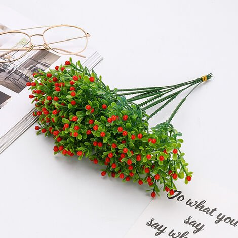 Triomphe simulation gypsophila granulée Triompheis fleurs artificielles plastique salon salle décoration plante verte fleurs pot décoratif pot (rouge)