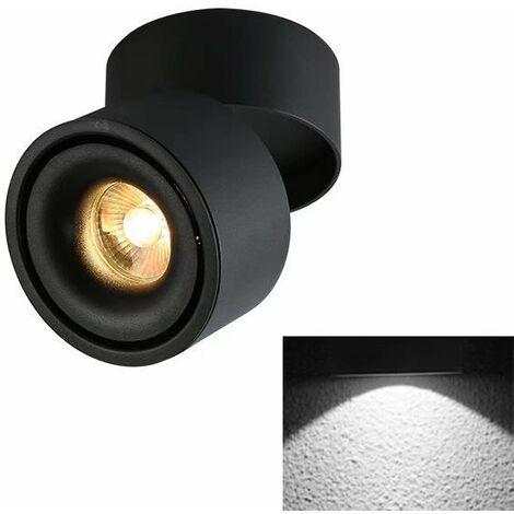 TRIOMPHE Spotlight LED Plafonnier Boutique Plafonnier Commercial Rail Lumière Ménage Angle Réglable Magasin De Vêtements (5W Noir (Lumière Froide