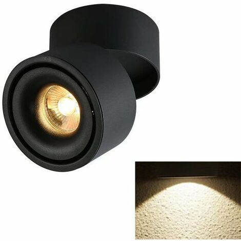 TRIOMPHE Spotlight LED Plafonnier Boutique Plafonnier Commercial Rail Lumière Ménage Angle Réglable Magasin De Vêtements (5W Noir (Lumière Neutre