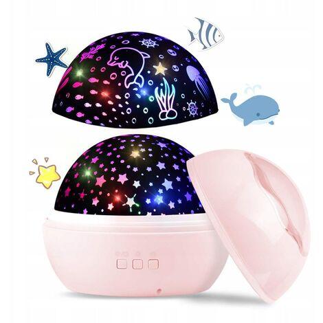 Triomphe Sternenhimmer Spotlight, Lumière de nuit de bébé, Lampe de projection mondiale de 2 in-océaniques avec câble USB, changement de 8 couleurs pour la pépinière et la lampe de table rotative à 360 °, décoration d'anniversaire de fête (rose)