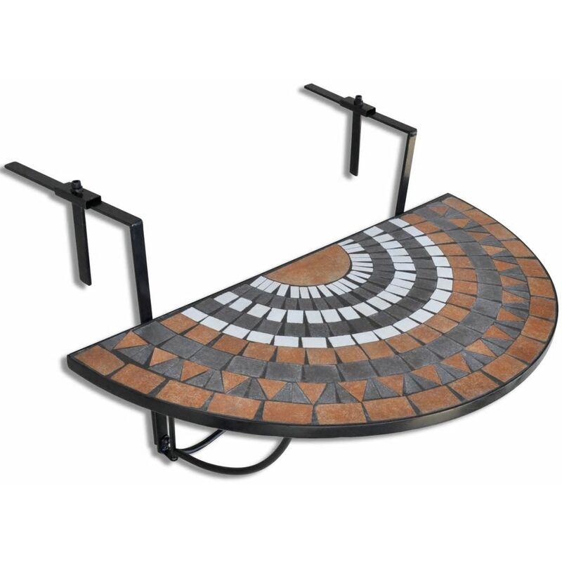 TRIOMPHE Table suspendue de balcon Terre cuite et blanc Mosaïque