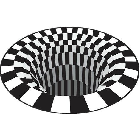TRIOMPHE Tapis Vortex Illusion, tapis d'impression à effet de piège 3D, tapis de vision stéréo à trous profonds, paillasson de tapis de sol antidérapant pour cuisine de chambre à coucher de salon (Piège noir et blanc 120 * 120cm)