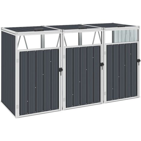 Triple Garbage Bin Shed Anthracite 213x81x121 cm Steel