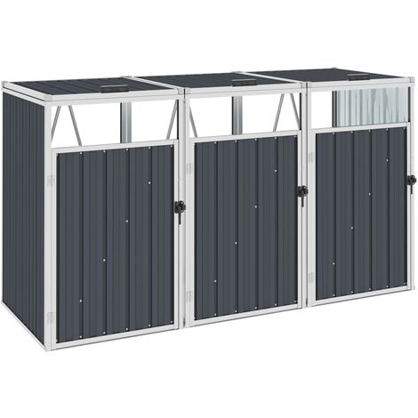 Triple Garbage Bin Shed Anthracite 213x81x121 cm Steel - Anthracite