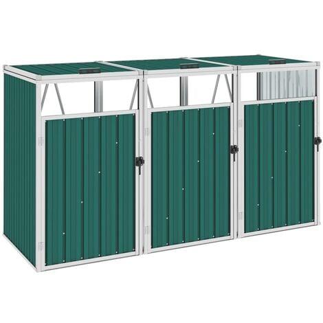Triple Garbage Bin Shed Green 213x81x121 cm Steel - Green