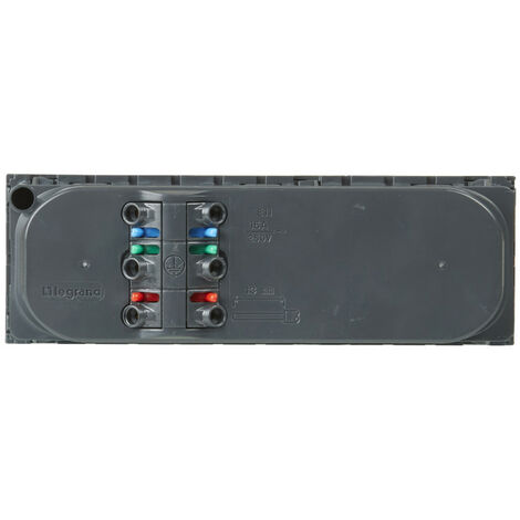 Triple prise de courant 2P+T à 45° précâblées IK07 Mosaic 6 modules avec bornes automatiques anthracite (079163)