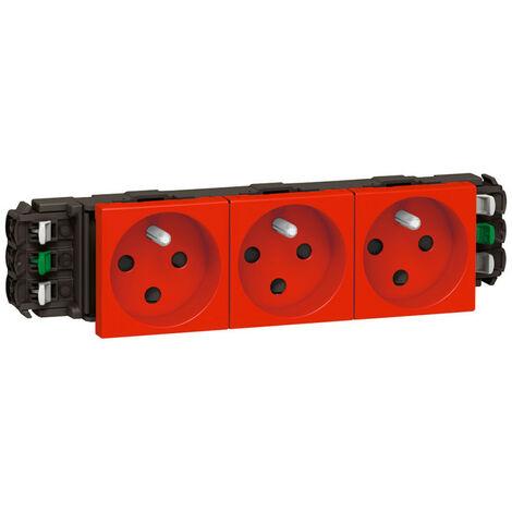 Triple prise de courant 2P+T à détrompage Mosaic 6 modules pour goulottes DLP monobloc rouge (077323)