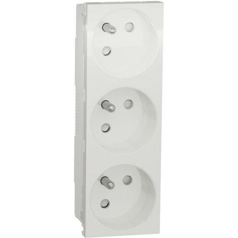 Triple prise de courant 2P+T blanc Unica