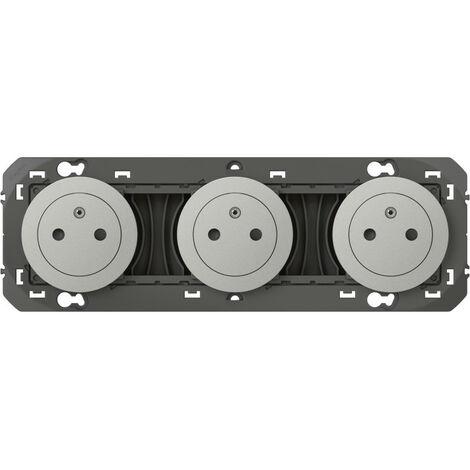 Triple prise de courant 2P+T Surface dooxie 16A précâblées finition alu emballage blister (095249)