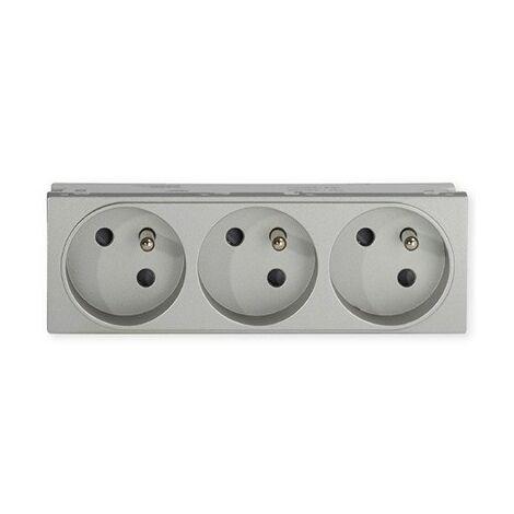 Triple prise de courant TerCia AP-C45 - Pour goulottes - 2P+T - 16A - Alu
