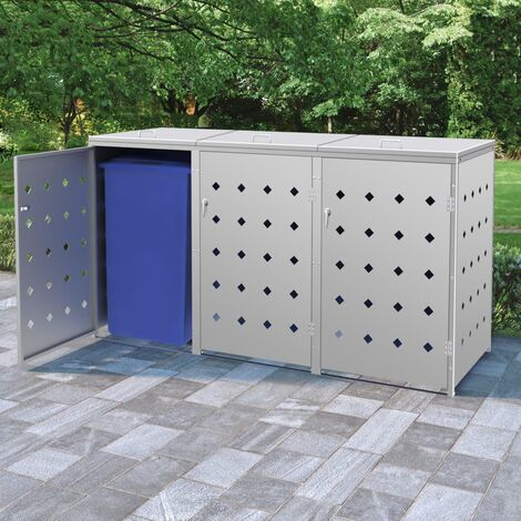 Triple Wheelie Bin Shed 240 L Stainless Steel - Silver