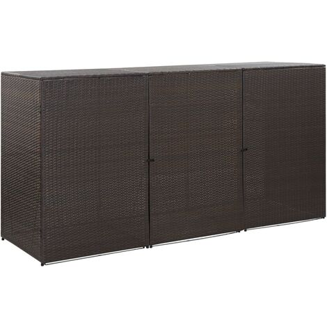 Triple Wheelie Bin Shed Brown 229x78x120 cm Poly Rattan