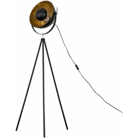 Tripod Floor Lamp Black Metal Photography Lighting - No Bulb - Black