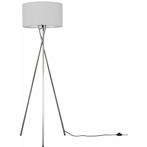 """main image of """"Tripod Floor Lamp in Chrome with Shade - Black"""""""