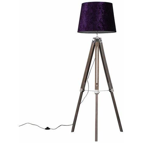 Tripod Floor Lamp in Light Wood with Shade - Purple