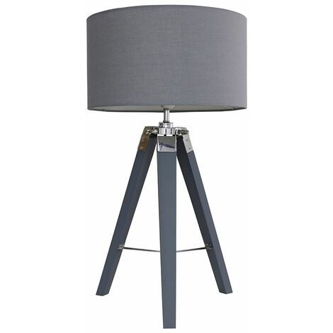 Tripod Grey & Chrome LED Table Lamp Large Drum Shade + Bulb - Dark Grey - Grey