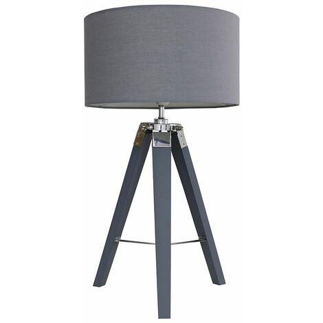 Tripod Grey & Chrome Table Lamp Large Drum Shade - Dark Grey - Grey