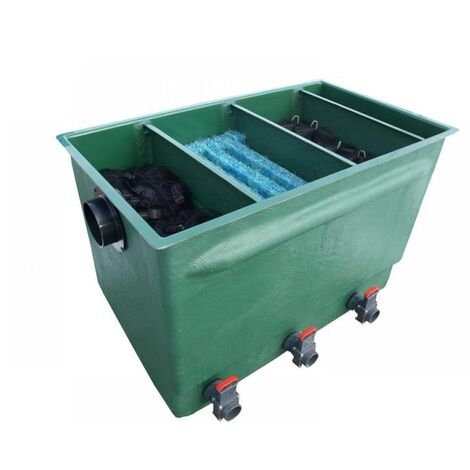 Tripond Teichfilter 3 Kammer Reihenfilter mit Deckel und Filtermaterial