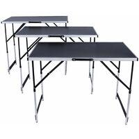 Tris 3 pezzi di tavolo pieghevole regolabile allungabile in alluminio e mdf nero