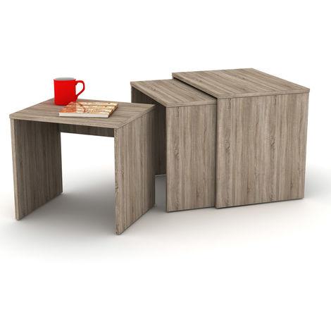 Tris Tavolino da Caffe Rovere Divano Tavolinetto Salotto Tavolo Basso in  Legno