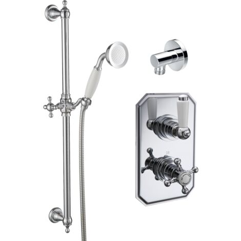 Trisen Sterma Chrome concealed thermostatic shower with wall outlet and shower kit TSS106