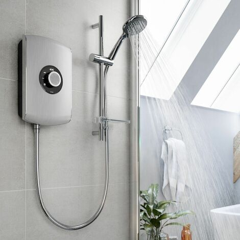 Triton Amore 9.5kW Electric Shower Brushed Steel 5 Spray Mode Handset 1.5m Hose