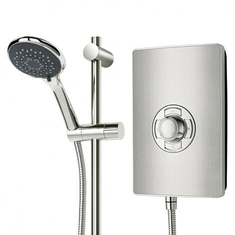 """main image of """"Triton Aspirante 8.5KW Brushed Steel Electric Shower - Includes Head + Riser"""""""