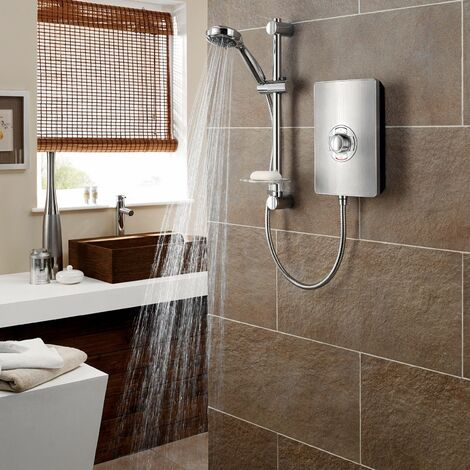Triton Aspirante Electric Shower 8.5kW Head & Riser Brushed Steel