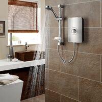 Triton Aspirante Electric Shower 8.5kW Head & Riser Brushed Steel