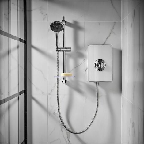 Triton Aspirante Electric Shower 9.5kW White Gloss 5 Spray Modern