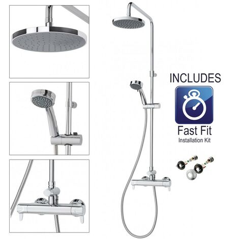 Triton Dene Diverter Thermostatic Lever Bar Mixer Shower Overhead Drencher