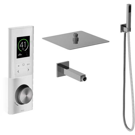 Triton Host White Digital Dual Outlet Mixer Shower Including Square Fixed Head & Square Shower Outlet Holder With Kit