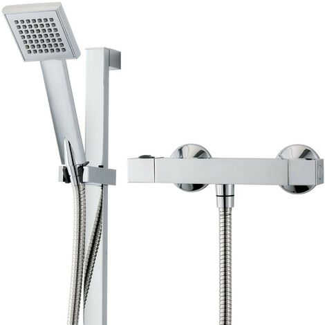 Triton Sentino Square Thermostatic Bar Mixer Shower Exposed Chrome + Riser Kit