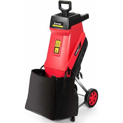 Trituradora de Jardín de 2400 W con Ruedas y Protección de Sobrecarga Cortadora para Ramas hasta 45 mm con Bolsa de 45L