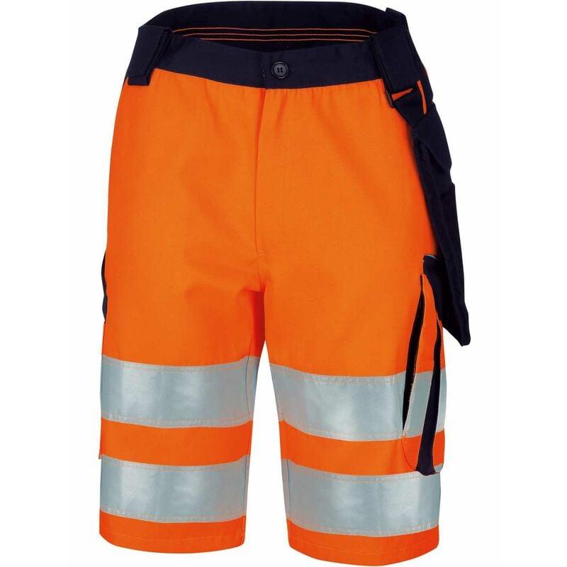 Vizwell Herren Warnschutz-Kontrast-Short VWTC114 Gr. 56 orange/marine - orange/marine