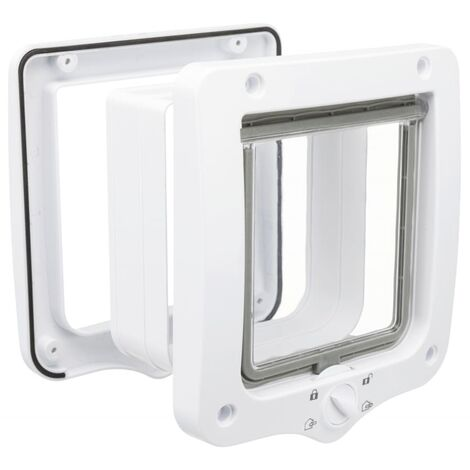 TRIXIE 4-Way Cat Flap Door with 2 Tunnels Grey
