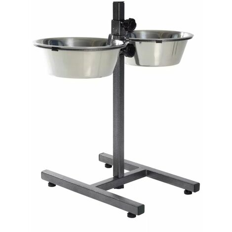 """main image of """"TRIXIE Adjustable Dog Bowl Stand 5.6 L 24 cm 24922 - Silver"""""""