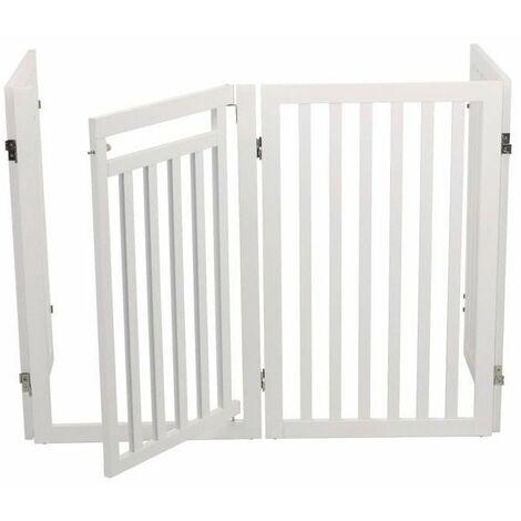 Trixie Barriere Avec Porte 60 160 X 81 Cm Blanc Pour Chien