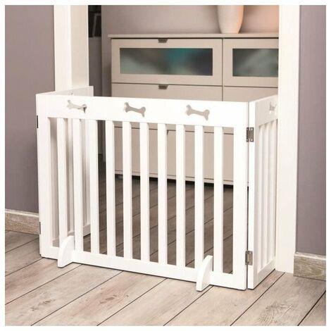 TRIXIE Barriere de sécurité - 3 pieces - 82-124x61 cm - Blanc - Pour chien