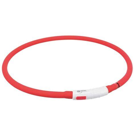 Trixie - Collier Flash Anneau Lumineux USB pour Chien Rouge - 70cm