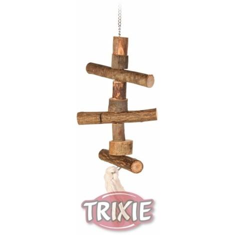 TRIXIE Percha colgante, tronquitos madera, cuerda, 40 cm