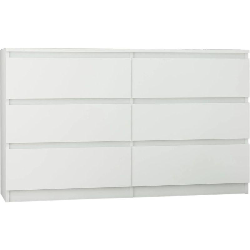 Trogir Commode Contemporaine Chambre Salon Bureau 120x30x76 6 Tiroirs Meuble De Rangement Scandinave Dressing Moderne Blanc Blanc Mob R 120 White