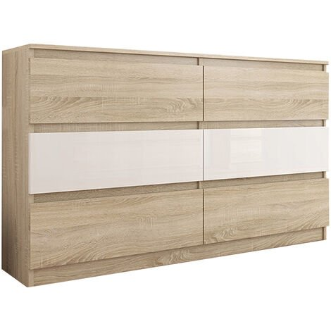 TROGIR S1 | Commode contemporaine chambre salon bureau | 120x30x76 | 6  tiroirs | Meuble de rangement scandinave | Dressing moderne | Sonoma/Blanc  ...