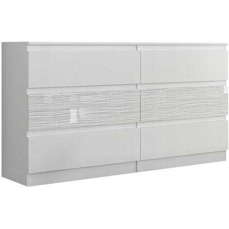 Trogir W1 Commode Contemporaine Chambre Salon Bureau 120x30x76 6 Tiroirs Meuble De Rangement Scandinave Dressing Moderne Blanc Blanc Mob R 120 Whitestrings White 1